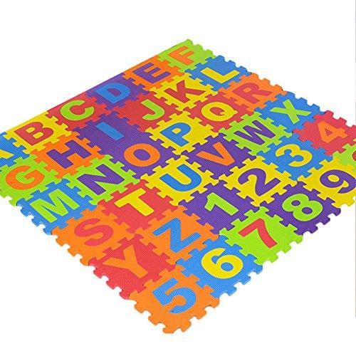 arthomer 36PCS Puzzle Tapis Mousse Bébé Alphabets Et Chiffres Tapis De Jeu Très Résistant pour Enfants - 15.5x15.5x0.9cm
