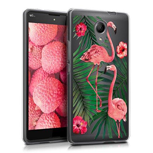 kwmobile Hülle kompatibel mit Wiko Robby - Handyhülle - Handy Case Flamingo Palmen Rosa Grün Transparent