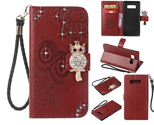 Cfrau Diamond Kickstand Case with Black Stylus for Samsung Galaxy Note 8,Luxury Embossed Crystal 3D Owl Flower Bling Glitter Wallet PU Leather Shockproof Soft TPU Wrist String Case - Red