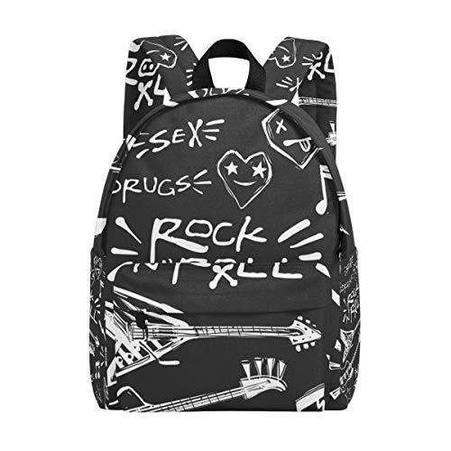 Rock 'N' Roll Mochilas escolares de música para niños, para estudiantes, adolescentes, mujeres, colegio, mochila, mochila de viaje de moda