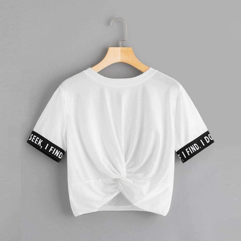 TUDUZ T-Shirt Damen Sommer Kurzarm O-Ausschnitt Rose Drucken Weste Tops Bluse X- Weiß