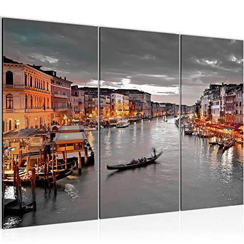 Bilder Venedig Italien Wandbild 120 x 80 cm Vlies - Leinwand Bild XXL Format Wandbilder Wohnzimmer Wohnung Deko Kunstdrucke Braun 3 Teilig - MADE IN GERMANY - Fertig zum Aufhängen 604331b