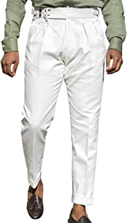 Bbalizko Mens Casual Gurkha Pants Buckle Button Waist Pleated Tapered Cotton Trousers