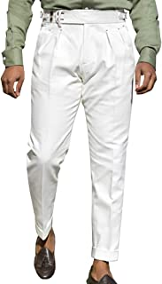 Mens Classic Fit Gurkha Pants Stretch Cotton Tapered Trousers