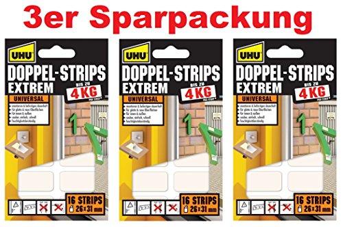Art.45450 UHU Doppel Strips Extrem D 3 pack á 16 Stück