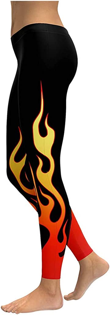Bravetoshop Womens Flame Print Running Legging Tummy Control Hight Waist Yoga Pants Workout Athletic Trouser Fitness Gym
