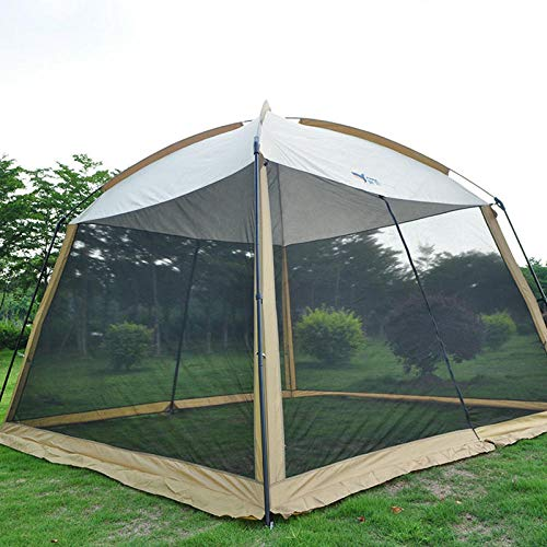 hdfj12142 Carpa Gazeb de jardín de 330 * 330 * 245 cm con mosquitera Carpa de Camping Transpirable Gazebo Impermeable para Todo Clima-marrón