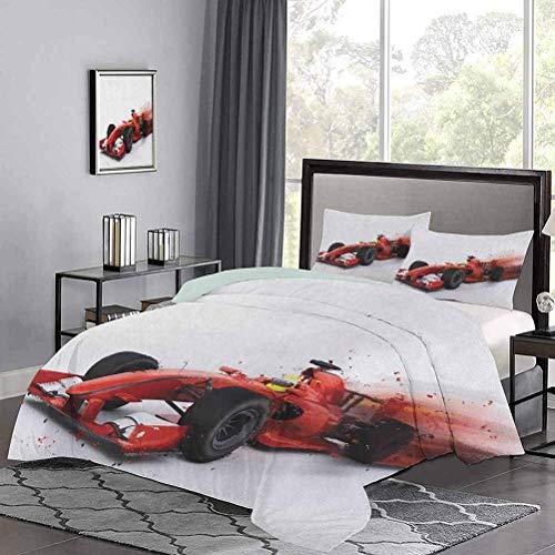 Bettbezug-Set Generische Formel-1-Rennwagen-Illustration mit Spezialeffekt Turbo Motion Auto Print Tröster-Abdeckungsfarbe hat Sich nach EIN Paar Wäschen rot schwarz gehalten