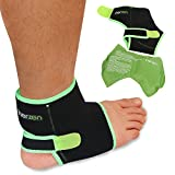 Inerzen Ankle Support Hot and Cold Gel Therapy Wrap - Includes Hot or Cold Gel Pack for Pain Relief - Microwavable, Freezable, Reusable (One Size Fits All)