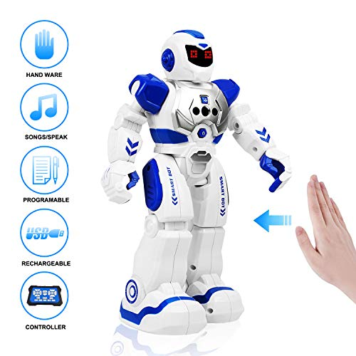 RC Robot for Kids, Remote Control Robot Toys with LED Lights, Infrared Control Programmable Singing Dancing Gesture Sensing Smart Robot Kit, Gifts for Boys Girls Toddlers