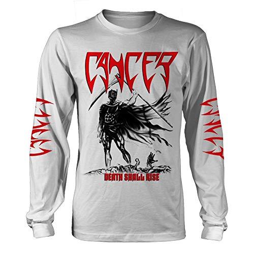 Longsleeve Cancer Death Shall Rise (White) Ufficiale Uomo Maglietta Unisex (Medium)