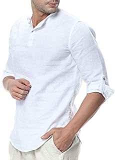 Mens Cotton Linen Henley Shirt Loose Fit Long Sleeve Casual T-Shirt Beach Yoga Tops