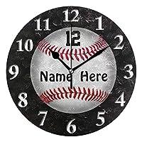 壁掛け時計 アクリル 雑貨 かけ時計 壁掛時計 掛け時計 時計 無音時計 連続秒針 静音 オシャレ ソフトボール 野球 あなた 名前および数