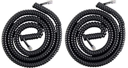 FEDUS Telephone Handset Phone Extension Cord Curly Coil Line Cable Wire Pack of 2