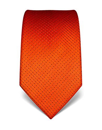 Vincenzo Boretti Herren Krawatte reine Seide gepunktet edel Männer-Design zum Hemd mit Anzug für Business Hochzeit 8 cm schmal/breit orange