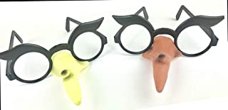Set of Kids Halloween Witch Nose Glasses! Lens Less Glasses with a Long Warty Witch Nose! 1-Light Green 1- Flesh Colored