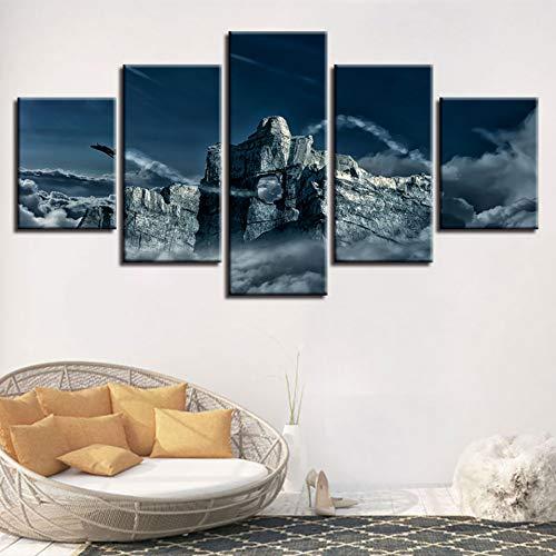 YDBDB Fotolijst, moderne hd-druk, 5 stuks, steenclip, vliegtuig, landschap, modulair canvas, schilderkunst voor de woonkamer mit gerahmten 20x35 20x45 20x55 cm