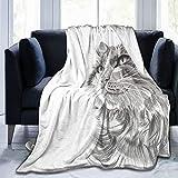 BROWCIN Gatto Testa Ritratto Peloso Carino Testa Gattino Domestico Meow Pet Disegno King (200x240cm) Coperta da tiro in Morbida Flanella