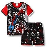 Boys Pajamas 100% Cotton Spiderman Short Kids Snug Fit Pjs Summer Toddler Sleepwear (Black, 5T)