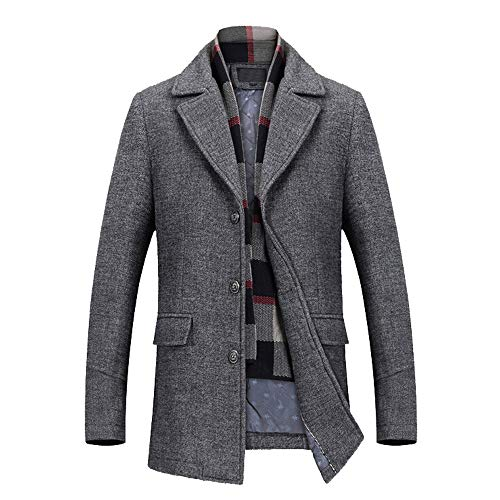 OSYARD Herren Winterparka,Mäntel,Windbreaker, Männer Wolle Trenchcoat Mode Business Lange Verdicken Dünne Revers Parka Mantel Wattierte Jacke Wintermantel Fleecemantel Wollmantel Wärmemantel