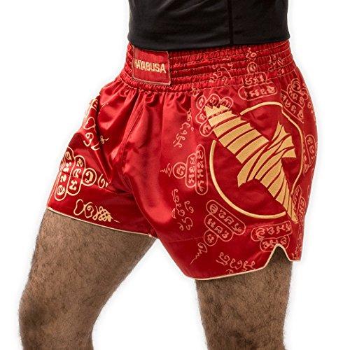 Hayabusa Muay Thai Shorts, Falcon, rot Größe XL