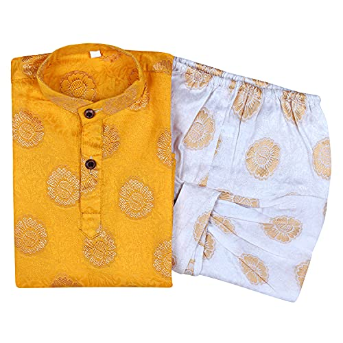 Superminis Baby Boys Fancy Ethnic Wear Cotton Golden Thread Work Kurta with White Color Elastic Dhoti (Yellow, 3-6 Months)