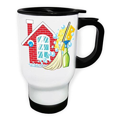 Travail effectué Clean House Domestic Cleaner Tasse de voyage thermique blanche 14oz 400ml y110tw