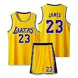 SFVE Camiseta De Baloncesto Lebron James Los Angeles Lakers # 23, Cómoda Ropa Deportiva para Niños Adultos Y Equipo De Competición Transpirable Yellow-XL
