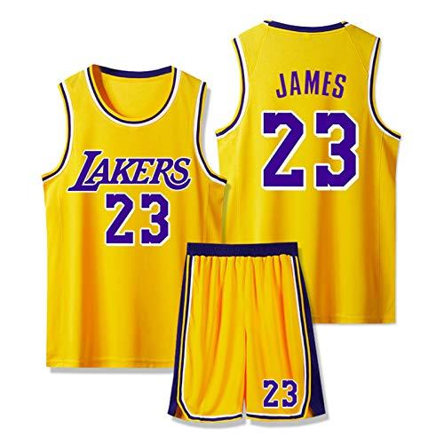 SFVE Camiseta De Baloncesto Lebron James Los Angeles Lakers # 23, Cómoda Ropa Deportiva para Niños Adultos Y Equipo De Competición Transpirable Yellow-S