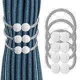 ZOCONE Fermatende Magnetico, 4 Pezzi(2 Paia) Fermatenda per Tende Cravatta per Tende Magnetico Cinturino per Tende, Design con Perle, Adatto per Camera da Letto, Soggiorno, Ufficio Decorazione