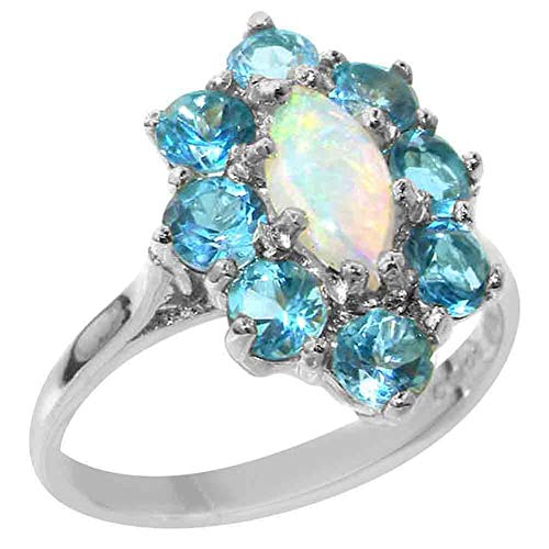 925 Sterling Silver Natural Opal & Blue Topaz Womens Engagement Ring - Size K 1/2