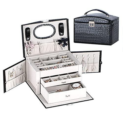 Joyero para mujer de gran capacidad con cierre de piel sintética organizador de joyas para anillos, pendientes, collares y pulseras