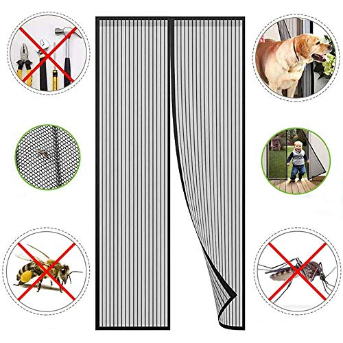 FTYU Magnetic adsorption Fly Screen Doors Air Can Flow Freely Fly Screen Door The Magnetic Curtain Insect Protection Very Easy Adhesive Assembly Without Drilling +20 Anti-Mosquito Bracelet