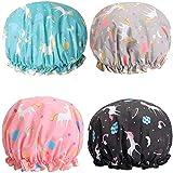 Kunyin 4Pcs Unicorn Shower Caps, Double Layer Waterproof Shower Hat Reusable Elastic Band Bath Caps Perfect for Women and Girls Shower Spa