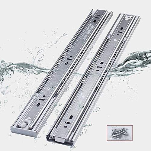X2 for trabajo pesado cajón ferrocarril de diapositivas - Mueble de metal ferrocarril de diapositivas, cojinete de bola / 3 nivel de expansión completa/cierre de amortiguación suave, carga de 70 kg
