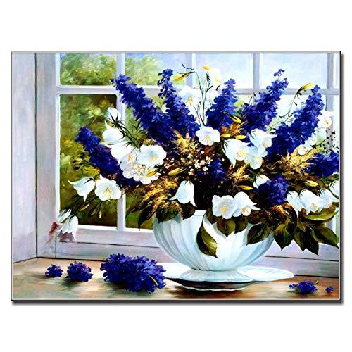 Gudojk decoratief schilderij, 1 stuk, klassiek, Encore la leven, bloem, schilderij op canvas, Bright Blue Flower, bijna raamdecoratie, bloemen, muurkunst 60x80cm(24x32inch)