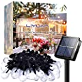 LiyuanQ Solar Outdoor String Lights Crystal Globe Light String 50 LED 32.8 Feet Solar Powered Patio Lights with 8 Lighting Modes Waterproof Lights for Deck Backyard Garden Balcony Porch Wedding Party