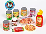 Polly Kaufladen Zubehör Set Pizza, Ketchup, Dosen, Nutella Nusscreme Miniaturen | Kinder Spielzeug für den Kaufmannsladen | Kinderkaufladen