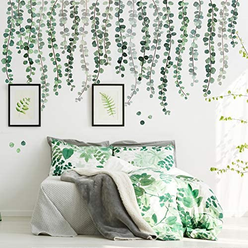 3 Sheets Green Plants Eucalyptus Vine Leaves Wall Decal Removable Watercolor Wall Art Decor product image