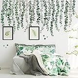 3 Feuilles Sticker Mural Feuilles de Vigne d'Eucalyptus Plantes Vertes Décor d'Art Mural Aquarelle Amovible Autocollant Mural Peler et Coller Décoration Murale Art pour Salon Bureau Salle de Bain