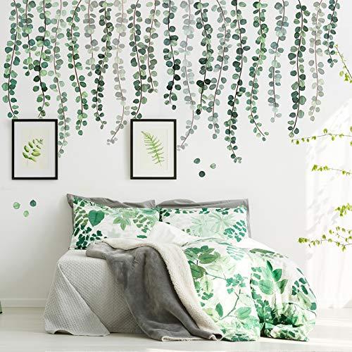 3 Fogli Decalcomanie da Muro di Piante Verdi Adesivo da Parete Eucalipto Foglie di Vite Acquerello Rimovibile Sbucciare e Attaccare Decorazione Murale d'Arte per Bagno Ufficio Decorazione Scuola