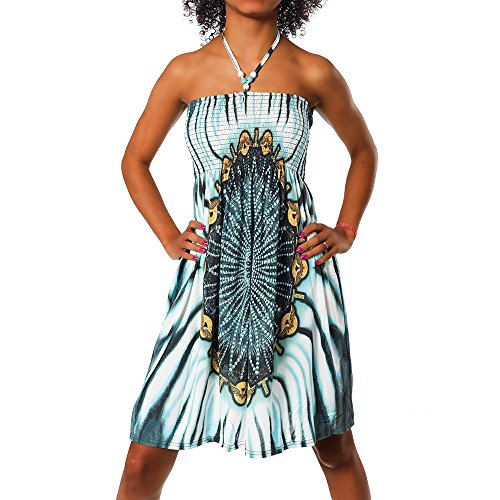 Diva-Jeans Damen Sommer Aztec Bandeau Bunt Tuch Kleid Tuchkleid Strandkleid Neckholder H112, Größen:Einheitsgröße, Farben:F-021 Türkis