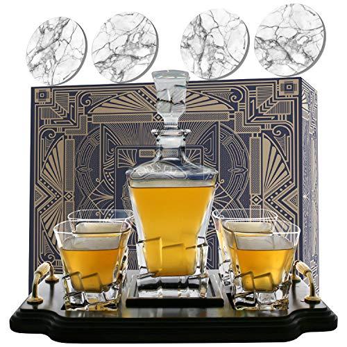 KROWN KITCHEN - Set con decanter whisky. Include: bicchieri whisky, sottobicchieri e base in legno. Perfetto regalo per papà. Per bourbon, scotch, liquori, ecc. 800ml capacità