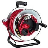 Electraline 208662 Enrouleur Jardin Professionnel métal, 40m H05VV-F 3G1.5m㎡, avec Guide pour Le câble, Rouge