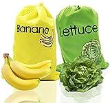 ZHCOY Bolsas reutilizables para Productos, incluye bolsa de plátano y bolsa de lechuga, lo mantienen durante más de 2 semanas para evitar el desperdicio de alimentos.