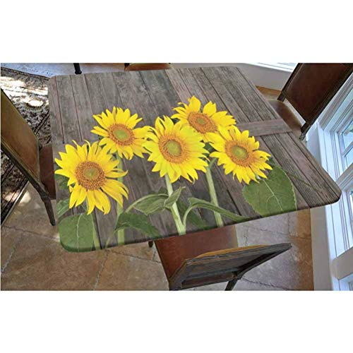 Sunflower Decor Polyester Fitted Tablecloth,Helianthus Sunflowers Against Weathered Aged Fence Summer Garden Photo Print Square Elastic Edge Fitted Table Cover,Fits Square Tables 36x36 Brown Yellow G