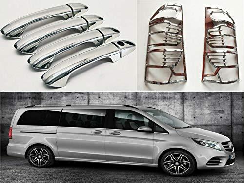 Boa Line Auto - Abs Cubierta de llanta para lámpara trasera 2 piezas y manija de puerta cromada 4 puertas S.STEEL, compatible con MERCEDES VITO W447