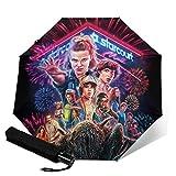PLUAN Strange-Things - Paraguas plegable de viaje, 10 costillas, ligero, resistente, automático, para mujeres y hombres, Black (Negro) - Umbrella-212610798-1