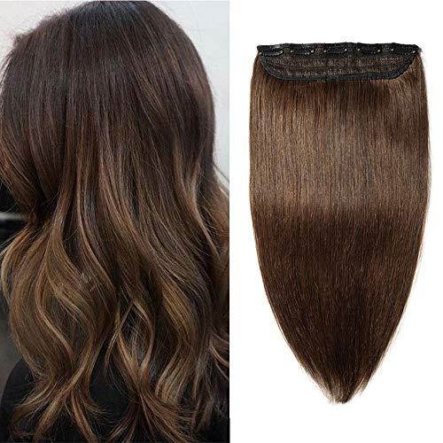 Clip in Extensions Echthaar Dick Haarteile Echthaar 1 Piece 5 Clips 7A Remy Hair Weich Natürlich Haarverlängerung 45cm-90g 04# Mittelbraun