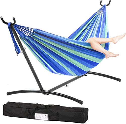 300Lb 9Ft Portable Solid Steel Heavy Duty Stand Hammock with Carrying Case, 2 Person Large Durable and Stable Best Hammock Stands for Indoor or Outdoor, Backyard Decor Bed Patio Lawn Garde - Blue